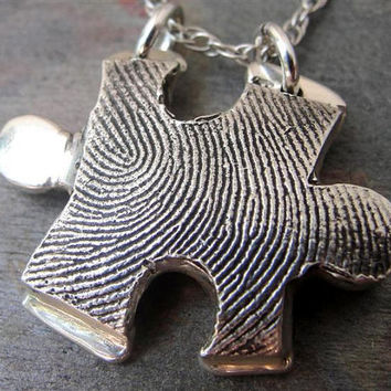 Fingerprint Puzzle Piece in Sterling Silver