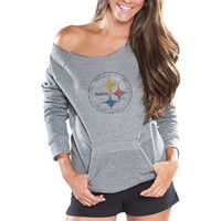 Cuce Fleece Pittsburgh Steelers Ladies Crystal Side-liner Sweatshirt - Gray