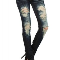 MACHINE JEANS Destroyed Distressed Denim Jeans (Various Styles)
