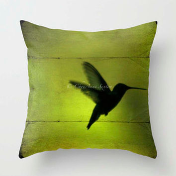 Hummingbird flight PILLOW 16 18 20 inch pillowcover chartreuse absinthe neon green Fine Art Home Decor Throw Pillow cover