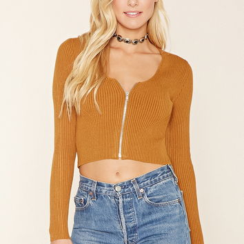 Zippered Sweater-Knit Crop Top