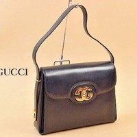 Authentic GUCCI Vintage Shoulder Bag Leather Navy Rare Excellent Condition 1026