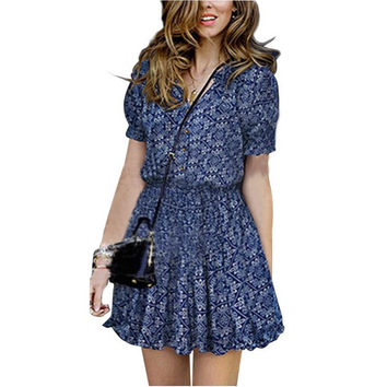 2016 Casual Sundress Mandarin Collar V-Neck Elastic Short Sleeve Print Beach Dresses Summer Vestidos Femininos *35