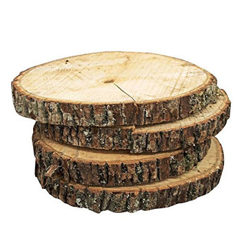 Natural Wood Slices, Round Basswood Slabs, 9 to 11 inches, Rustic Tree Bark Slice, Weathered Log Disc, Outdoor Country Barn Wedding Table Centerpiece, (4 Pack)