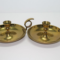 Brass Colonial Candlestick Holders with Thumbhole Handle Set of 2