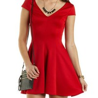 Cap Sleeve Deep V Skater Dress by Charlotte Russe - Red