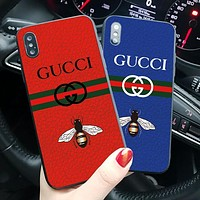 GUCCI 2018 Hot Small Bee Letter Print Ladies Men Couple iPhone Phone Cover Case For iphone X iphone 6 6s 6plus 6s-plus 7 7plus 8 8plus