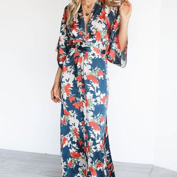 Oh Behave Satin Floral Kimono Maxi Dress