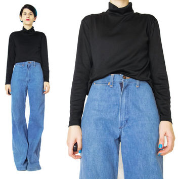 90s Black Turtleneck Top Black Jersey Top Long Sleeve Turtleneck Minimalist Black Blouse Mock Neck Goth Basics Stretchy Black Top (M/L)