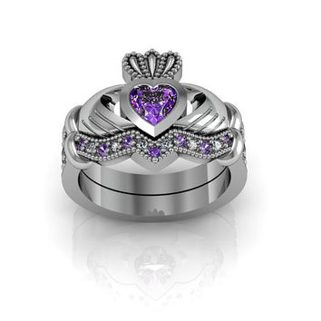 Sterling Silver Amethyst Claddagh  Love and  Friendship Engagement Wedding Anniversary Ring Set
