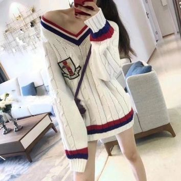LMFONS Gucci' Women Badge Embroidery Multicolor Stripe V-Neck Middle Long Section Long Sleeve Knit Sweater