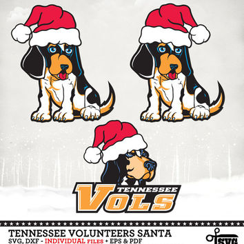 Tennessee Volunteers Santa - Digital Vector Clip art Cut Files - SVG, dxf, eps, pdf for Silhouette, Cricut yeti Die Cutting SF-232