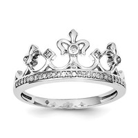 Sterling Silver Genuine Diamond Crown Ring