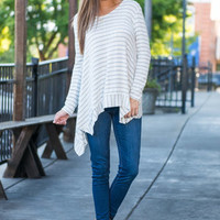 Promoted To Stripes Top, Cream-Gray
