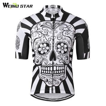 Weimostar Cycling Jersey 2017 White Skull Bicycle Cycling Clothing Breathable Racing Road mtb Bike Jersey Bicycle Shirt Ciclismo