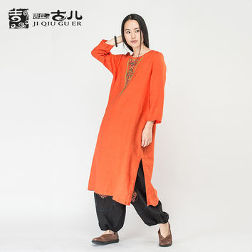 Jiqiuguer Original Design Embroidery Women ethnic Dresss Plus Size Long Sleeve Autumn Dress Linen Cotton Dress India  G163Y025