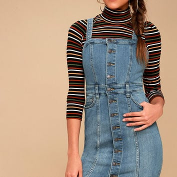 Button-Front Medium Wash Denim Jumper