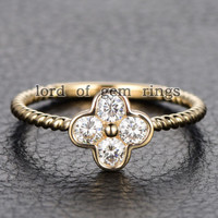 Moissanite Engagement Ring 14K Yellow Gold 3mm Round Four Leaved Clover Floral
