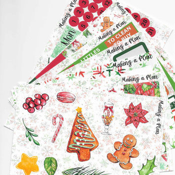 Candy Christmas Weekly  Vertical Kit Planner Stickers for use with ERIN CONDREN LIFEPLANNER