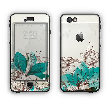The Vintage Teal and Tan Abstract Floral Design Apple iPhone 6 Plus LifeProof Nuud Case Skin Set