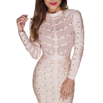 Apricot Studded Mesh Bandage Dress LAVELIQ