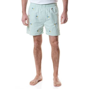 Barefoot Boxer in Seafoam Oxford with Embroidered Coq of the Walk by Castaway Clothing