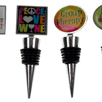 Novelty Wine Stopper Set 4 You Had Me at Merlot Peace Love Group Therapy Sayings