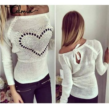 Women Knitted Sweater Pullover 2018 Autumn Clohting Sexy Off Shoulder Diamond Heart Bow Pull Femme Casual Jumper Plus Size 3XL