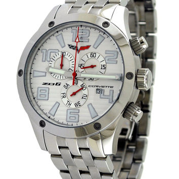 Corvette CR-Z06/330 Silver Men's SS Chronograph Watch