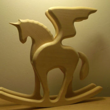 Wooden toy horse - Wooden horse - monoceros - unicorn - licorne force - Pegasus - wooden rocking chair - toy rocking
