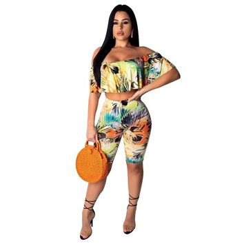 2019 Tie Dye Sexy 2 Piece Set Summer Clothes for Women Ruffle Crop Top and Biker Shorts Matching Sets Plus Size Club Outfits