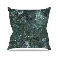 "Marianna Tankelevich ""Aventurine Space"" Green Gray Digital Outdoor Throw Pillow"