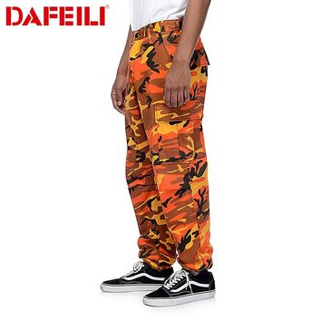 Men 2018 hip hop camo streetwear tactical cargo multi pockets work baggy fashion pants kanye west harem military brand Trousers