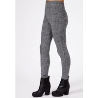 Missguided - Weronika Dogtooth Check Skinny Trousers In Grey