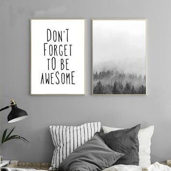 Landscape Nordic Style Forest Motivational Quote Canvas Poster Print Black White Minimalist Wall Art Painting Decorative Picture