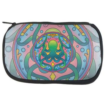 LMFCY8 Mandala Trippy Stained Glass Octopus Makeup Bag