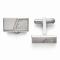 Men's Stainless Steel with CZ Cuff Links - Engravable Personalized Gift Item