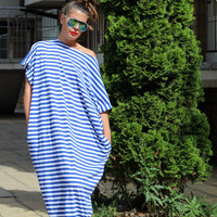 White and blue stripes long cotton caftan plus size oversized maxi dress / everyday dress / casual dress
