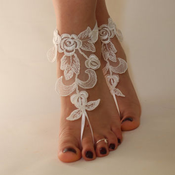 FREE SHİPP İvory Lace Beach Wedding Barefoot Sandals,Lace Shoes,Bridal Lace Barefoot Sandals,Summer Wedding
