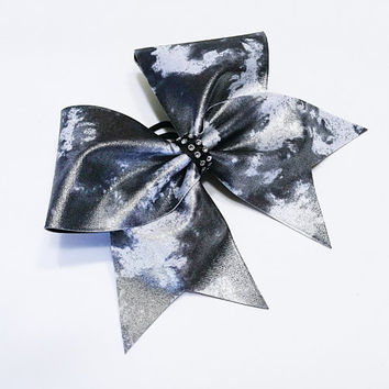 Cheer bow, Sliver cheer bow, gun metal grey cheer bow, cheerleader bow, cheerleading bow, cheerbow, softball bow, dance bow, pop warner bow