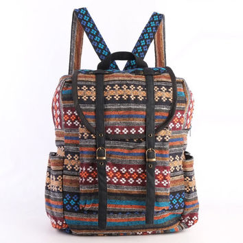 Large Woven Textile Backpack Rucksack Diaper Bag, Student/ Travel/ College/ Teen/ Native Tribes