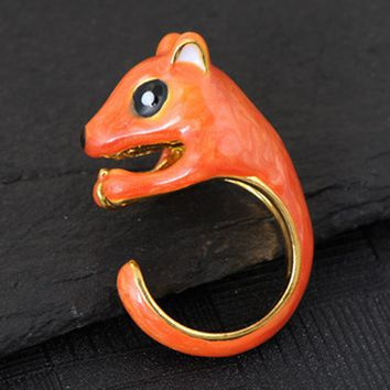 Special Design Animal Gold-color Squirrel Ring Squirrel And Nut Ring For Women 1.8cm  Fashion