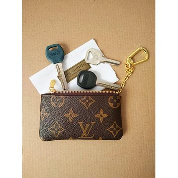 LV Tide brand classic models women's wild fashion clutch bag key bag Coffee LV Pattern