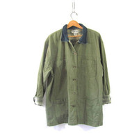 vintage sage green  jean denim jacket // barn coat // field coat / women's size XL