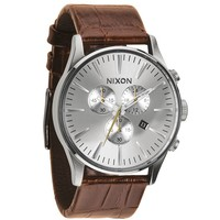 Nixon The Sentry Chrono Leather Watch - Mens Watches - Saddle Leather - One