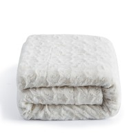 DaDa Bedding Luxury White Roses Warm Luxe Faux Fur Sherpa Fleece Throw Blanket (K11)