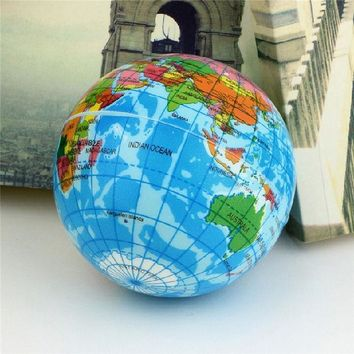 DCCKL72 Funny Brief Earth Globe Stress Relief Bouncy Foam Ball Planet World Map Foam Stress Relief Bouncy Press Ball Geography Toy