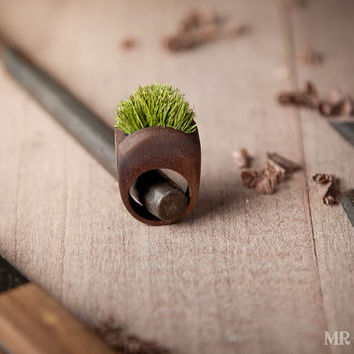 Wood Ring With Grass Handmade Eco Friendly Forest Jewelry 002