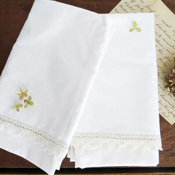 Queen Pillow Case Set Crochet Trim Penney's Pencale 100% Cotton