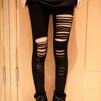 Black High Waist Sexy Ripped Bandage Strap Leggings